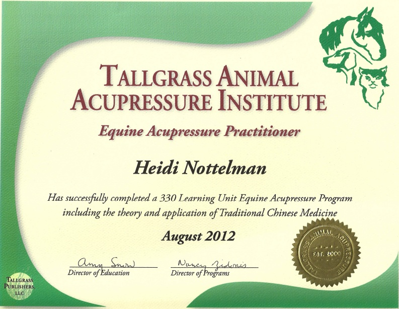 Balanced Equine Energy Certificate